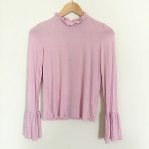 TOPHOP PINK RUFFLE NECK JERSEY TOP